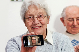 Elderly woman smartphone